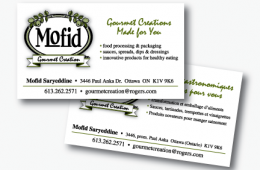 Mofid Gourmet Creations Business Card