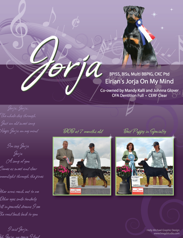 Dog Show Ad - Eirian's Jorja On My Mind